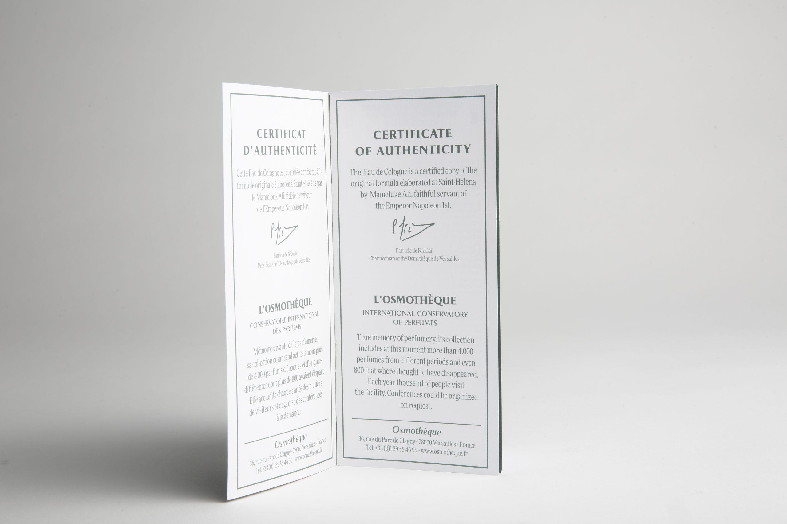 Certificat d'Authenticité Eau de Cologne Napoléon Ier